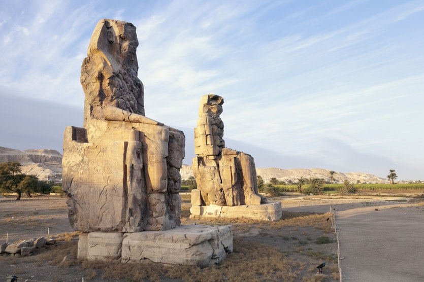 The Colossi of Memnon on the West Bank of Luxor are 17 metres high and cut from two massive granite blocks.