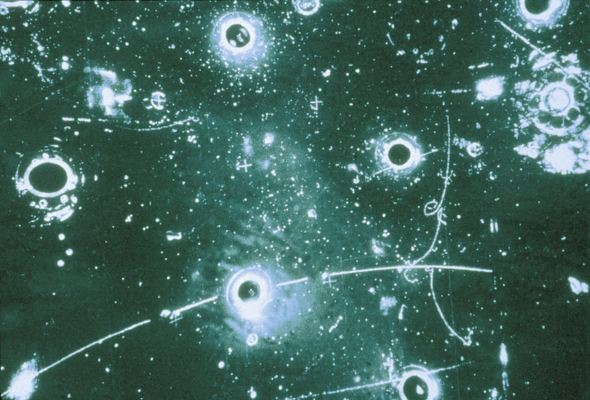 This bubble chamber image, taken at CERN in the 1990s, shows a neutrino interacting with an electron.