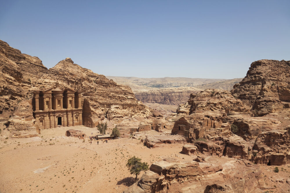 The towering monastery of petra is one of the most well known archaeological sites found in jordan.