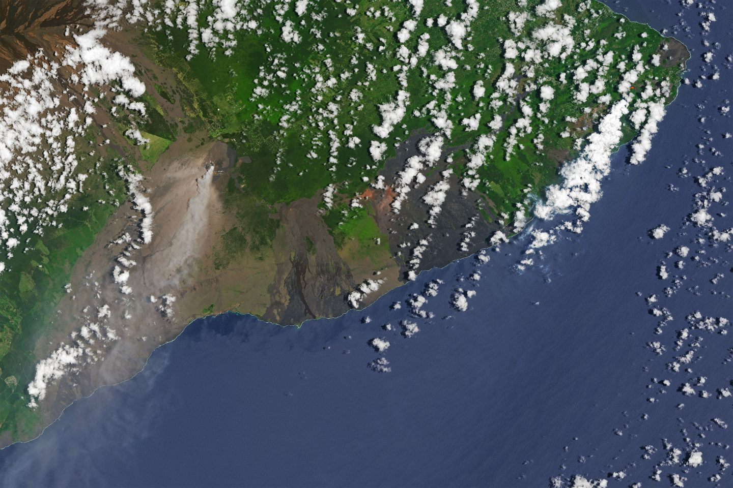 The erupting Kilauea volcano and surrounds.