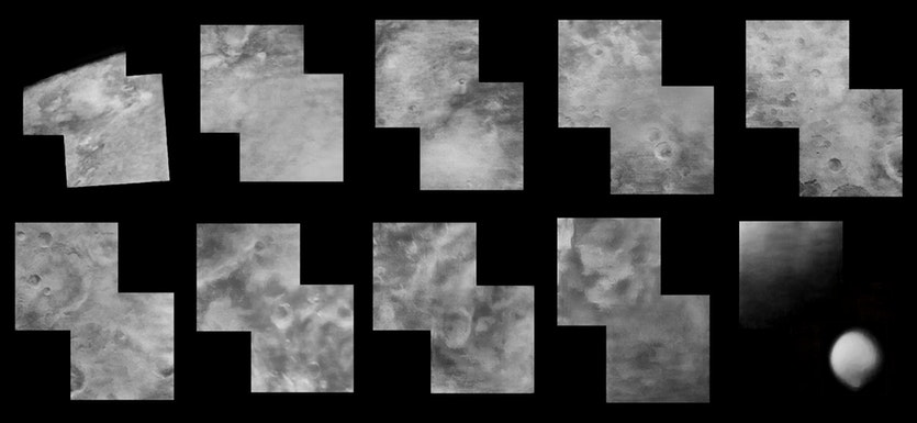 A collage of all the Mariner 4 images of Mars.