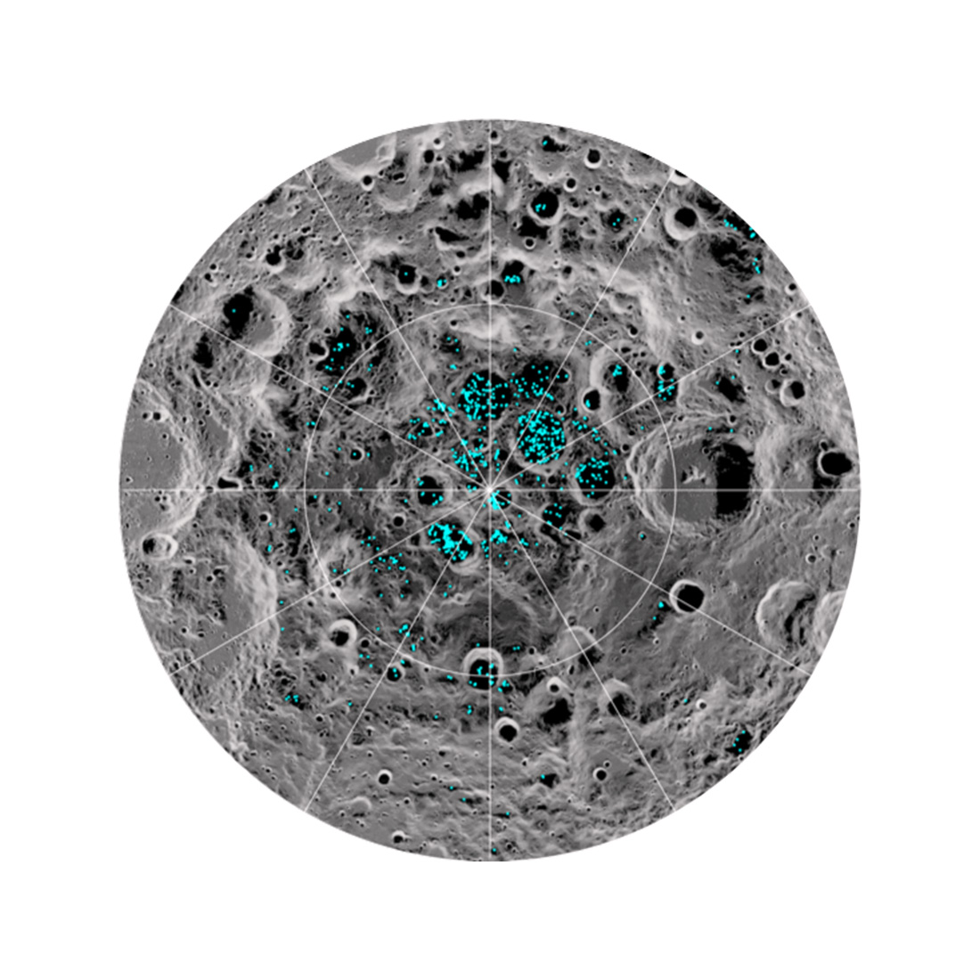plotted over an image of the lunar surface.