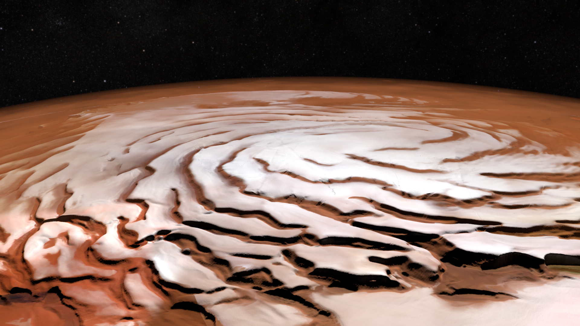 Perspective view of the north polar ice cap on Mars.