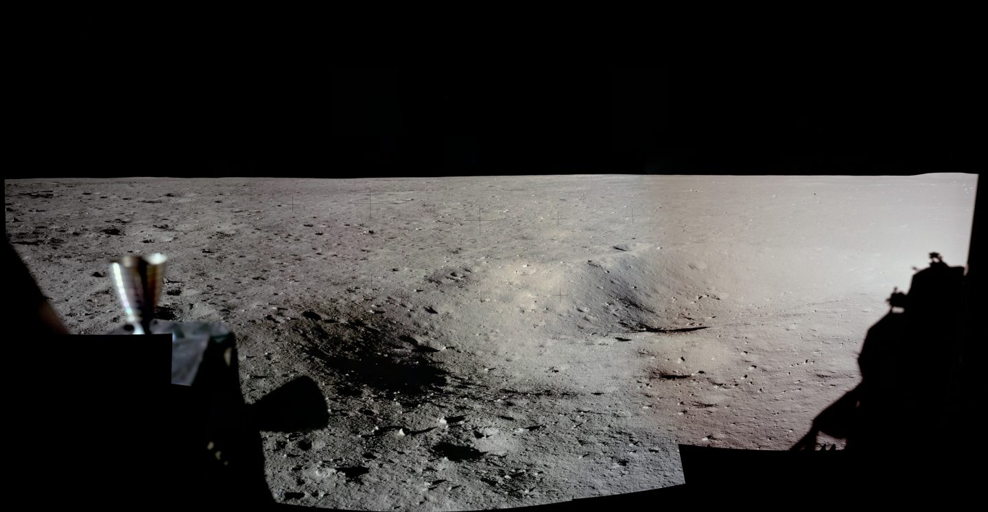 A panoramic view of the Apollo 11 landing site on the Moon.