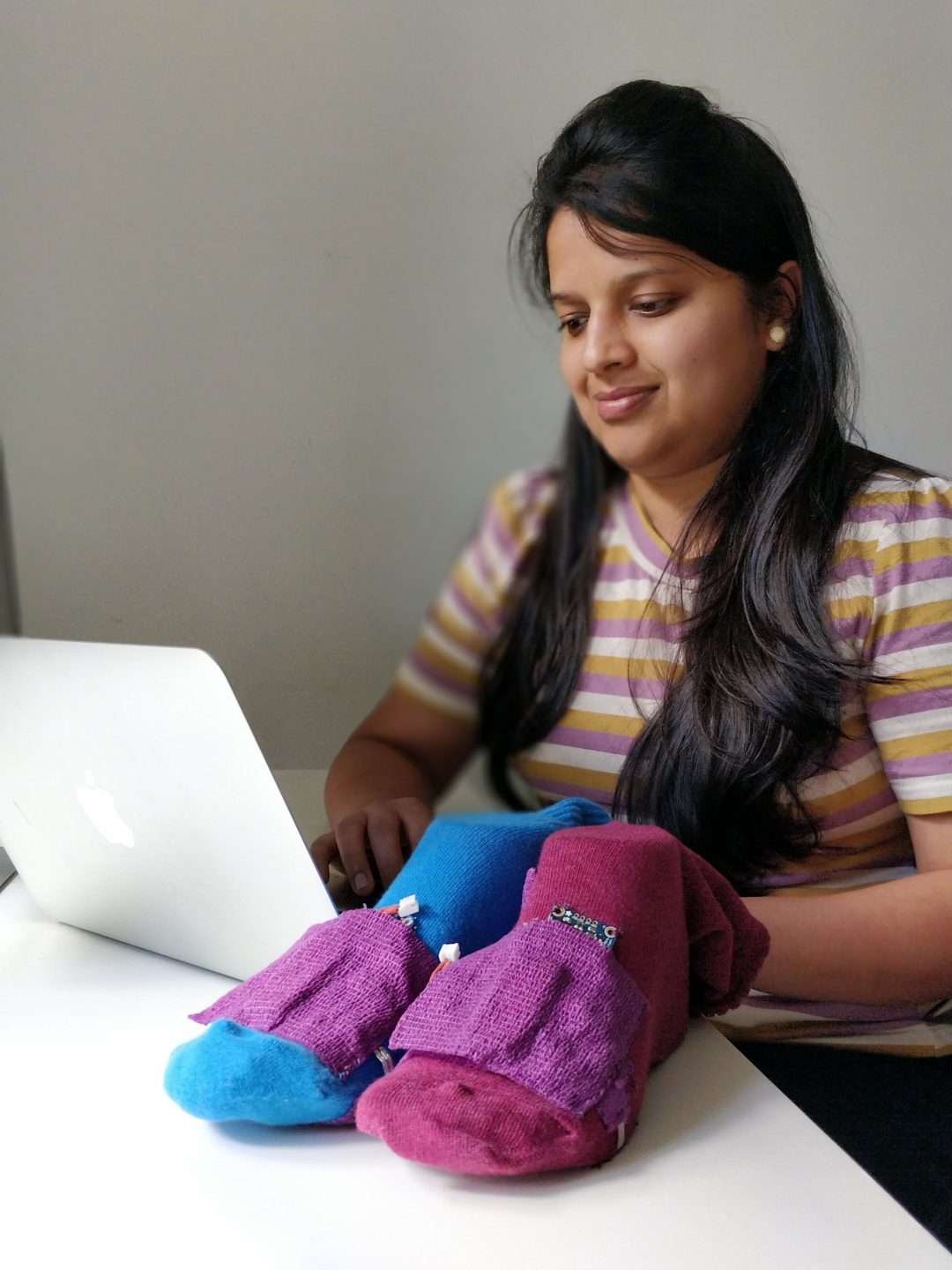 Deepti Aggarwal shows off her smart socks.