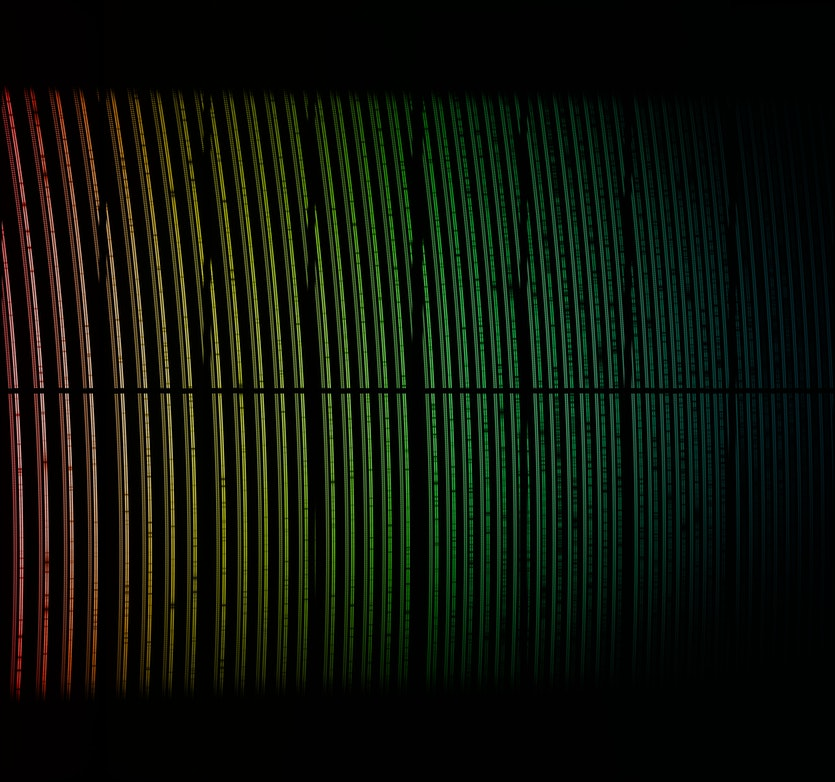 The spectrum of light from a star from the ESPRESSO instrument at the Very Large Telescope in Chile.