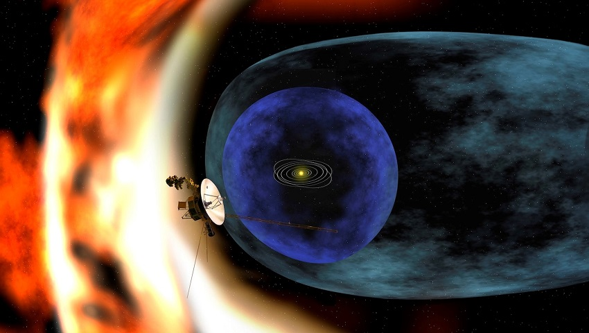 An artist's impression of Voyager 2 reaching the edge of the heliosphere.