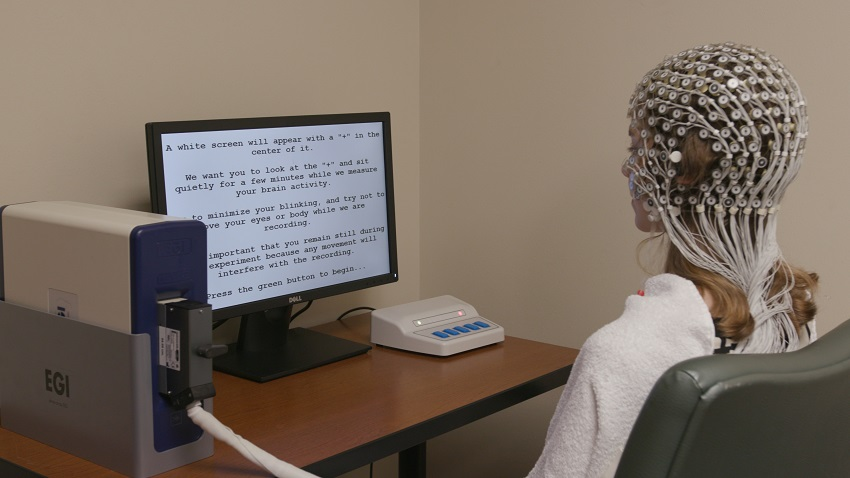 A participant's brain activity being monitored as part of the trial.