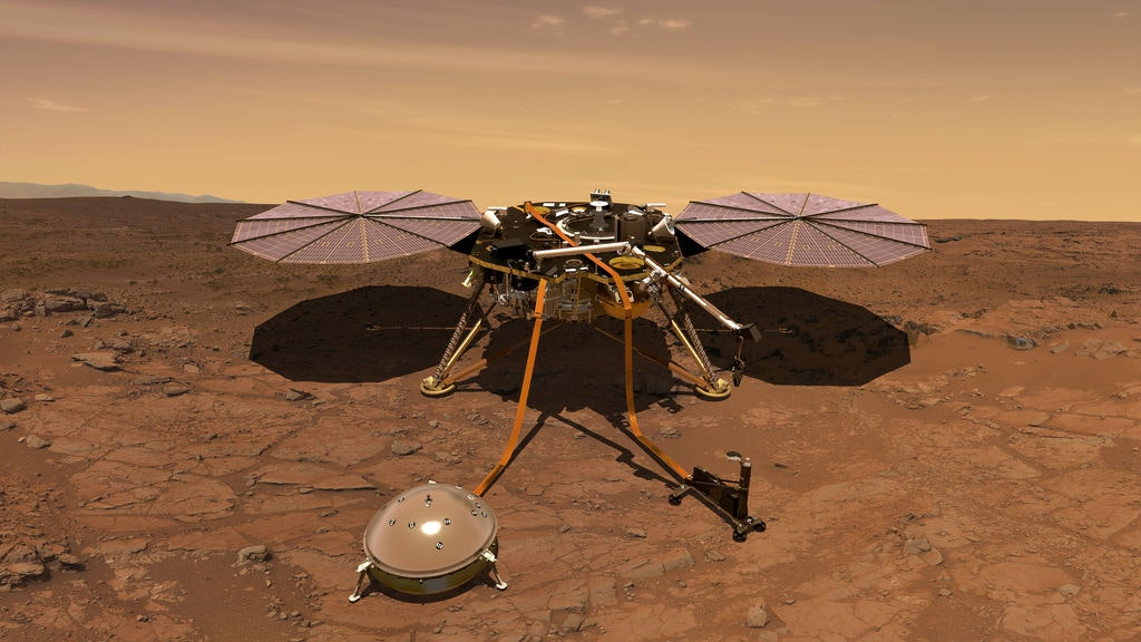 An artist's impression of the nasa insight lander on the surface of mars.