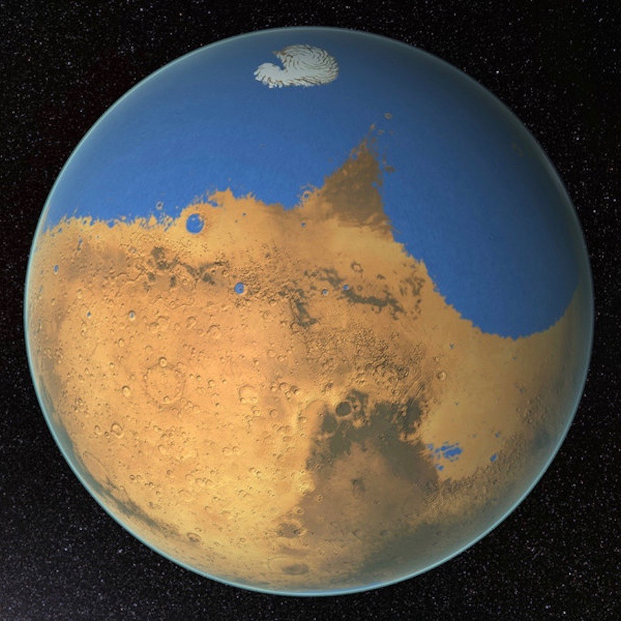 much of the Martian northern hemisphere would have been covered in a massive ocean.