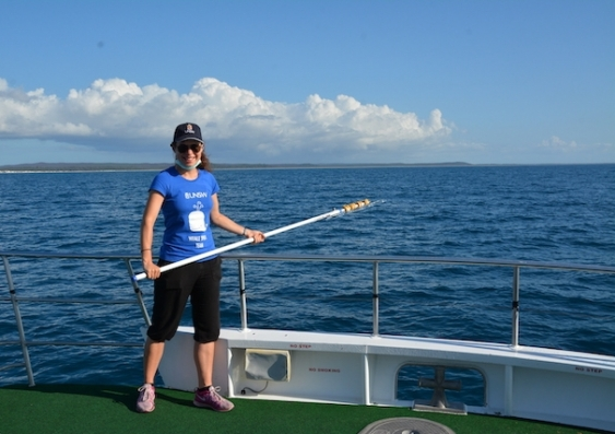 whale snot collection on a boat in Hervey Bay Queensland