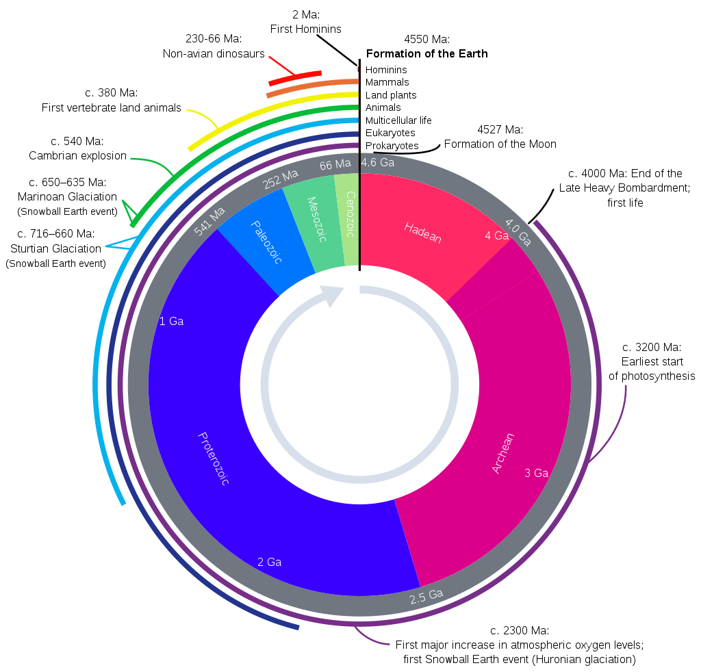 Geologic time represented in a diagram called a geological clock, showing the relative lengths of the eons of Earth's history and noting major events.
