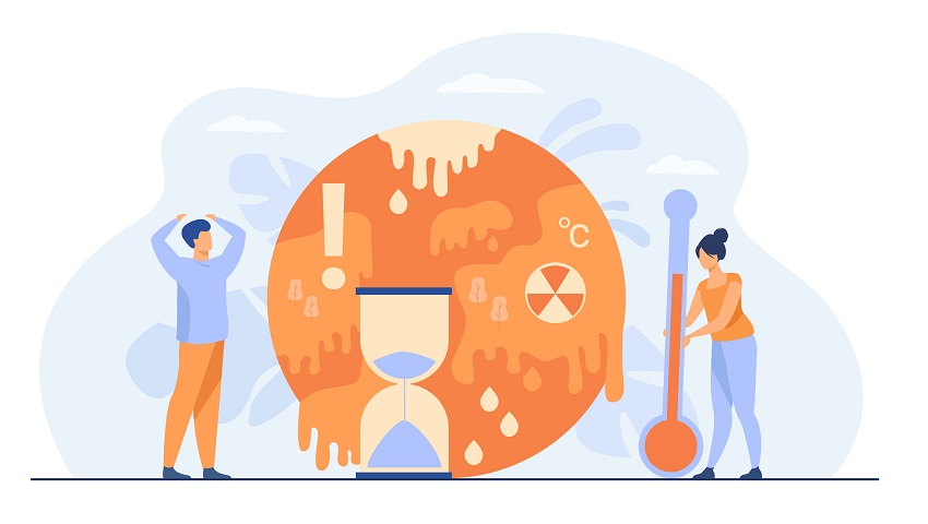 Tiny people near planet with melting poles isolated flat vector illustration. Danger of temperature rising and greenhouse effect anomaly. Climate change and hot weather concept