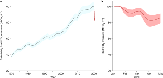 chart showing global carbon emissions continued to rise pre-COVID, but the pandemic saw a dramatic drop