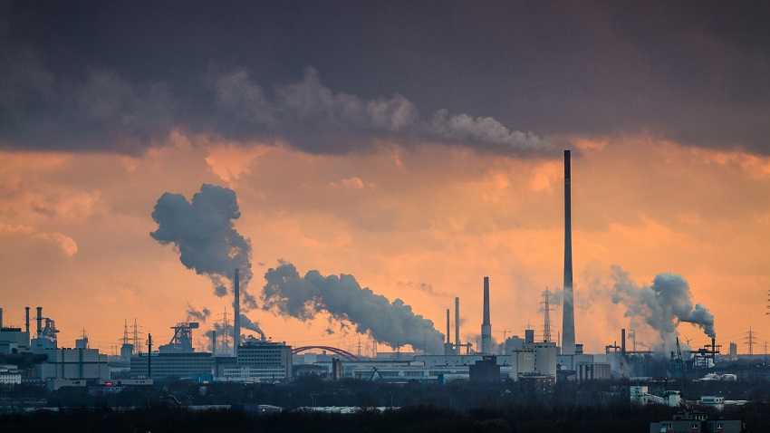 Sunset with dramatic light over duisburg in the ruhr area, one of germany's centers of heavy industry.