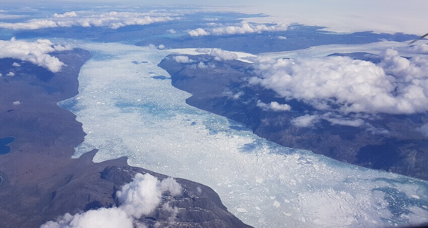 A glacial river in Greenland, where unusually high concentrations of mercury have been measured in meltwater,