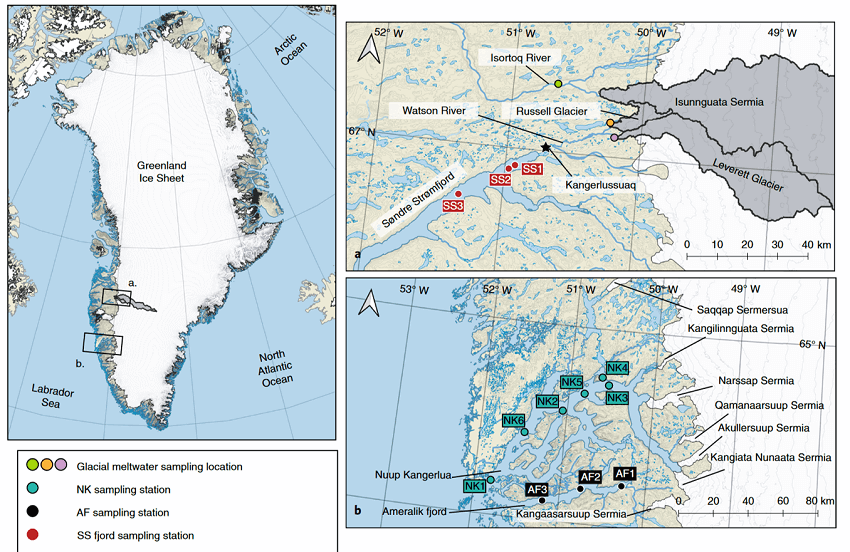 Map of the sampling stations in southwestern Greenland, where researchers tested mercury concentrations in glacial meltwater.