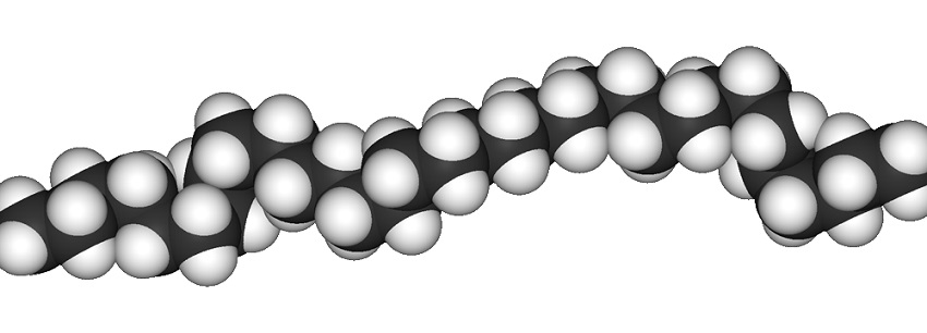 A polyethylene chain, with carbon atoms shown in black and hydrogen in white.
