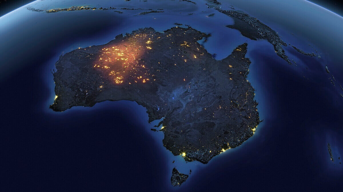 Looking down on australia at night from space